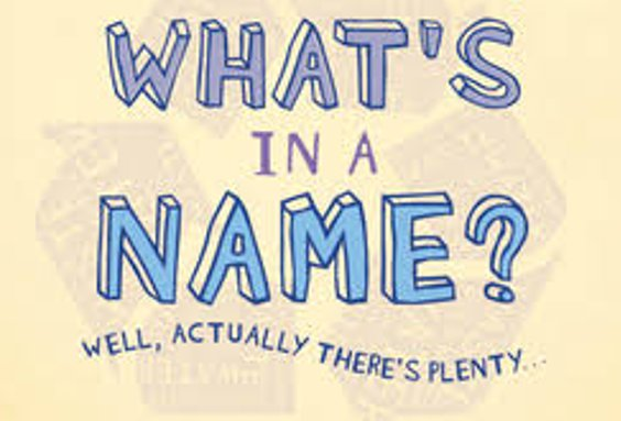 "Hand-drawn lettering saying ""What's in a name? Well, actually there's plenty"""