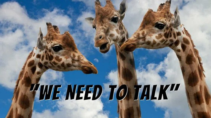 "Three giraffes, with necks and heads visible against a blue sky with white fluffy clouds. Words that say ""We Need To Talk""."