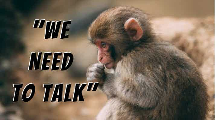 "Monkey sitting in a 'thinker"" post, with the words, ""We Need to Talk"""