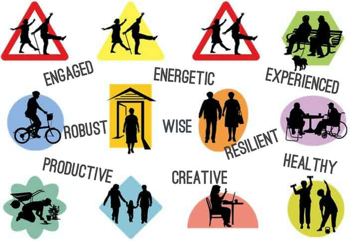 New designes for icons of older citizens with words: engaged, energetic, experienced, robust, wise, resilient, productive, creative, healthy